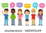diverse group of kids saying hi ... | Shutterstock .eps vector #460493149