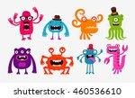 cartoon monsters or bogeyman... | Shutterstock .eps vector #460536610
