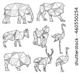 vector set of origami animal... | Shutterstock .eps vector #460550254