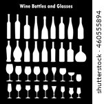 set of vector wine glass and... | Shutterstock .eps vector #460555894