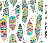 ethnic feathers  seamless... | Shutterstock .eps vector #460564378