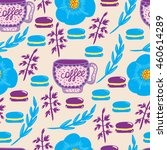 lovely coffee seamless pattern. ... | Shutterstock .eps vector #460614289