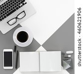 minimal work space   grey tone  ... | Shutterstock . vector #460621906