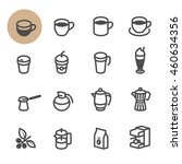 coffee icons with white... | Shutterstock .eps vector #460634356