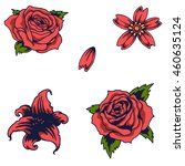 Stock vector vector image of red rose with tattoo style 460635124