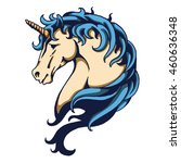 head of blue hair unicorn with... | Shutterstock .eps vector #460636348