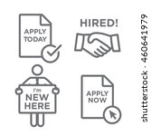 apply and hired outline icons... | Shutterstock .eps vector #460641979