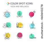 set of line yoga icons. spa and ... | Shutterstock .eps vector #460643278