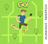 man playing popular game on...   Shutterstock .eps vector #460659223