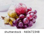 color pencil drawing fruit on... | Shutterstock . vector #460672348