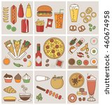 food and drink flat icons... | Shutterstock .eps vector #460674958