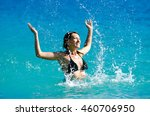 attractive girl playing in the... | Shutterstock . vector #460706950