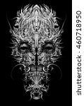 fantastic ritual mask  scary ... | Shutterstock . vector #460718950