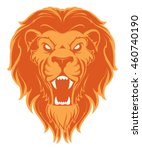 roaring lion head mascot. label.... | Shutterstock .eps vector #460740190