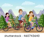 happy boy and girls riding... | Shutterstock .eps vector #460743640
