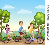 cute boy and girls riding his...   Shutterstock .eps vector #460743718