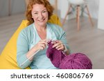 Cheerful Woman Knitting