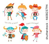 set of boys wearing costumes... | Shutterstock .eps vector #460823794