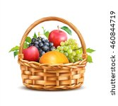 Basket With Fruits Isolated On...