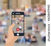 hand holding mobile phone... | Shutterstock .eps vector #460845940