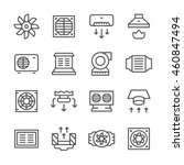 set line icons of ventilation | Shutterstock .eps vector #460847494