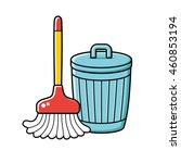 cleaning broom and trash bin...   Shutterstock .eps vector #460853194