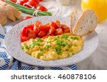 scrambled eggs with white bread ... | Shutterstock . vector #460878106