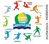 Set of summer sports silhouettes, vector illustration