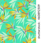 seamless turquoise floral... | Shutterstock . vector #460892509