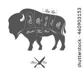 vintage butcher cuts of bison...   Shutterstock .eps vector #460903153