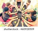best friends group holding... | Shutterstock . vector #460928509