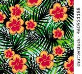 tropical flower pattern | Shutterstock .eps vector #460931188