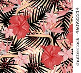 tropical flowers pattern | Shutterstock .eps vector #460932214