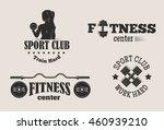 set of monochrome gym fitness...   Shutterstock .eps vector #460939210