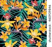 tropical flower pattern | Shutterstock .eps vector #460939846