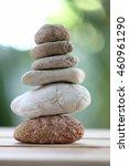 balance rock or zen stones on... | Shutterstock . vector #460961290