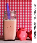 Small photo of Strawberry squeeze smoothies for energy booster before a workout session.
