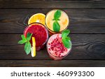fresh fruit smoothies. assorted ... | Shutterstock . vector #460993300