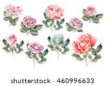 watercolor set with different... | Shutterstock . vector #460996633