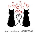 silhouettes of two cats in love ... | Shutterstock .eps vector #46099669