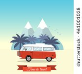 vintage minivan with a tropical ... | Shutterstock .eps vector #461001028
