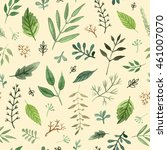 watercolor herbs and leaves... | Shutterstock . vector #461007070