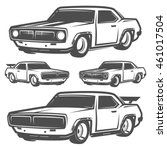set of muscle car for logo and... | Shutterstock .eps vector #461017504