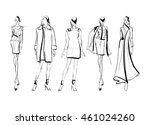 sketch. fashion girls on a... | Shutterstock .eps vector #461024260
