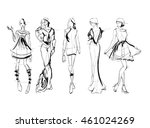 sketch. fashion girls on a... | Shutterstock .eps vector #461024269