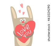 Funny Bunny With Heart And...