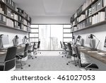 new york office interior. city... | Shutterstock . vector #461027053