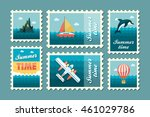 excursion sea vector stamp set. ... | Shutterstock .eps vector #461029786