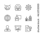 business icons set  thin line ... | Shutterstock .eps vector #461053000