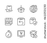 set of thin line icons isolated ... | Shutterstock .eps vector #461053150